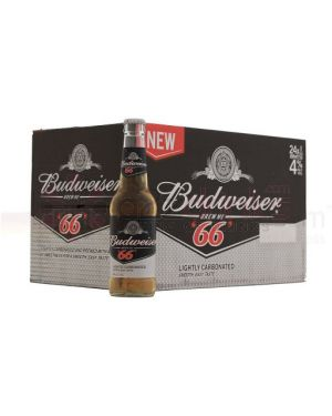Budweiser 66. Premium United Statesn Lager Beer Bottle - 24 x 300 ml - 4% ABV