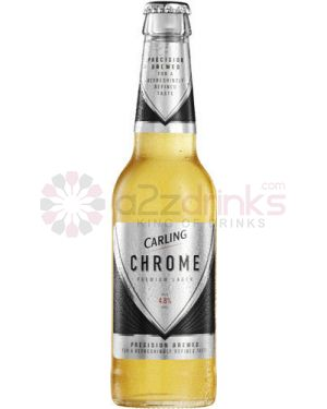 Carling Chrome - English Premium Lager Beer - 24 x 330 ml NRB Case - 4.8% ABV
