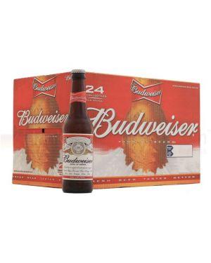Budweiser - Premium United Statesn Lager Beer Bottle - 24 x 300 ml - 4.8% ABV